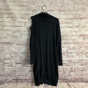 All Saints S Black One Shoulder Mock Neck Dress